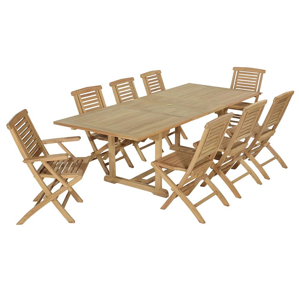 Salon de jardin 6 chaises + 2 fauteuils en teck massif