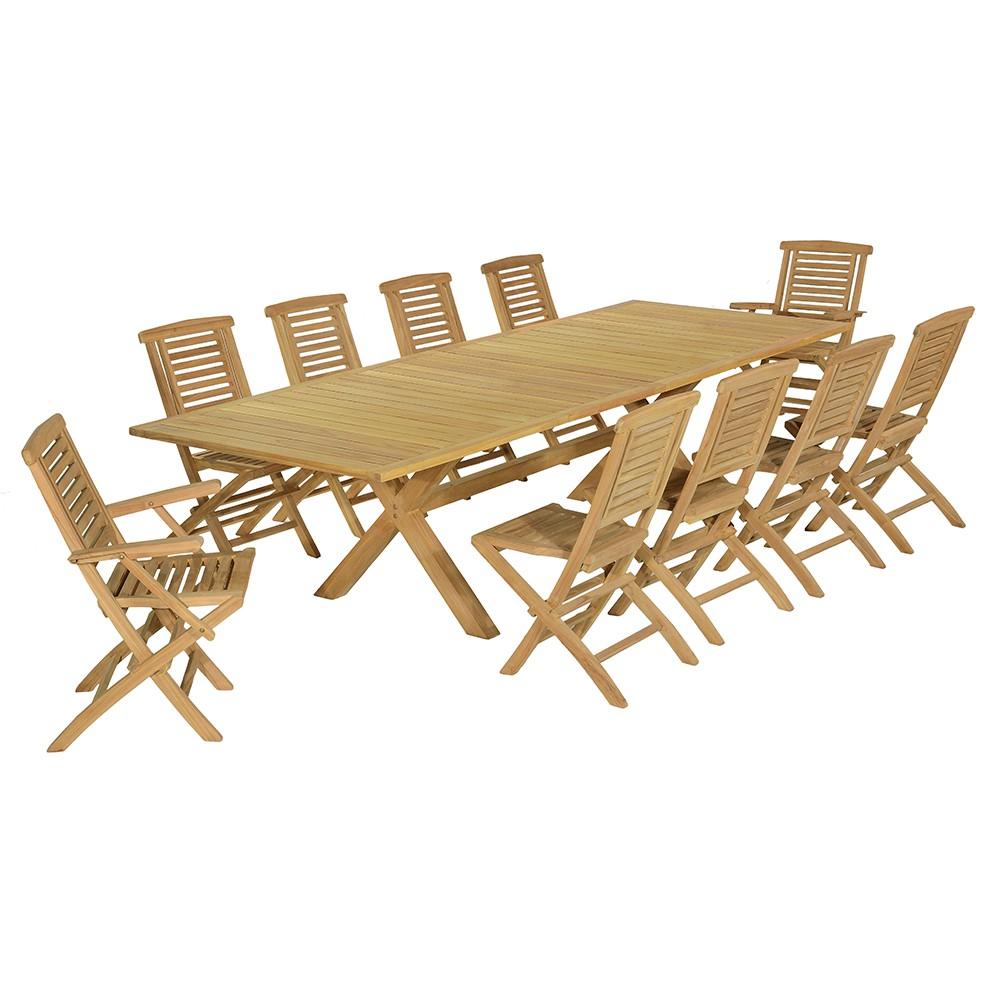 Salon de jardin 8 chaises + 2 fauteuils en teck massif