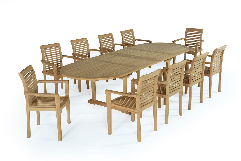 Salon de jardin 10 fauteuils en teck massif