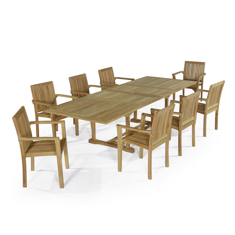 Salon de jardin 8 fauteuils en teck massif