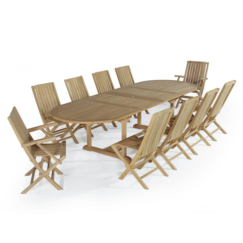 Salon de jardin 2 fauteuils avec 8 chaises en teck massif