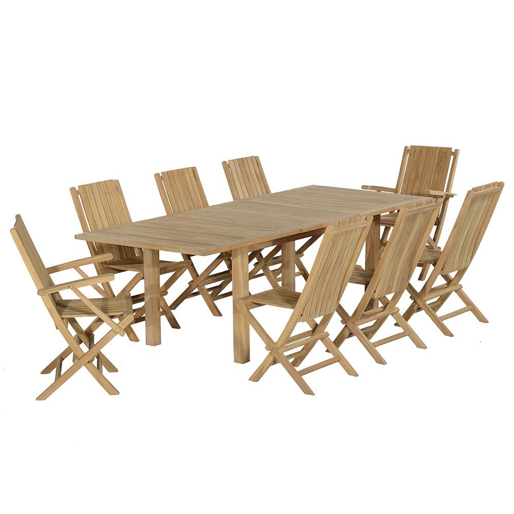 Salon de jardin 6 chaises et 2 fauteuils en teck massif