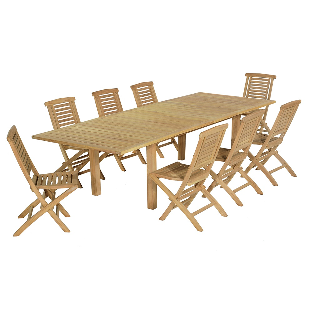 Salon de jardin 8 chaises en teck massif