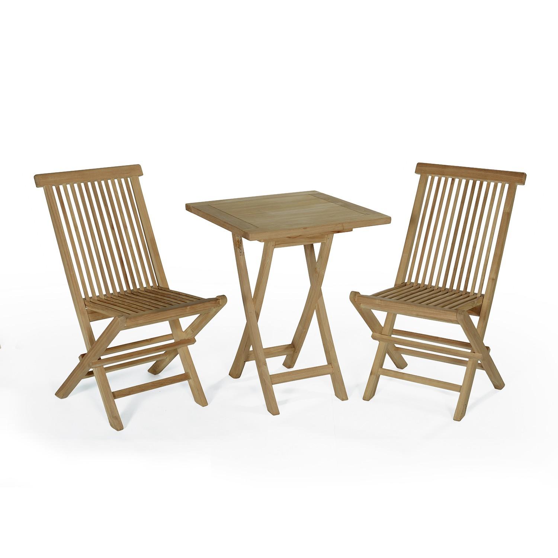 Salon de jardin 2 chaises en teck massif