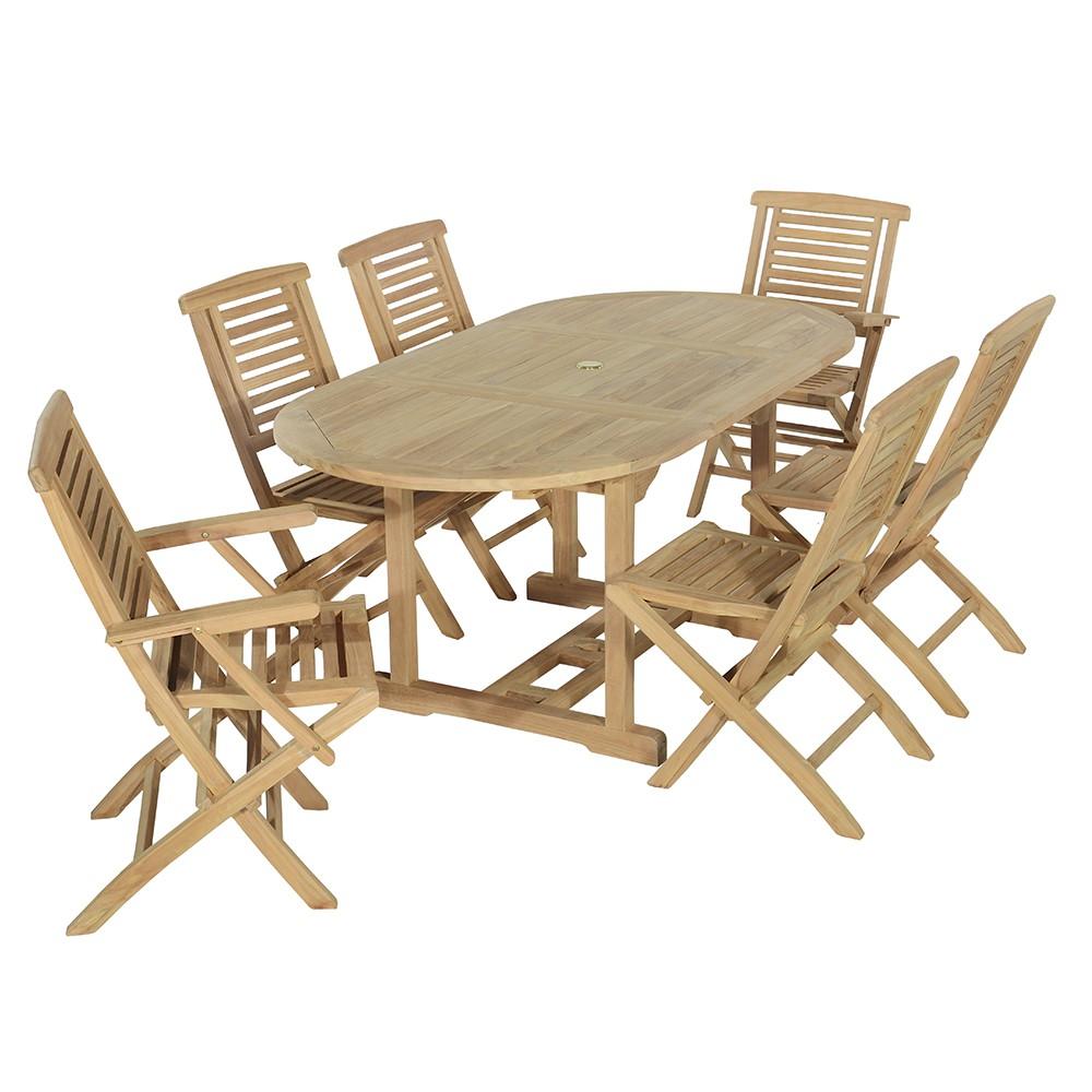 Salon de jardin 4 chaises + 2 fauteuils en teck massif