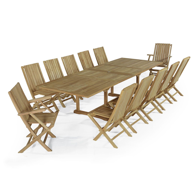 Salon de jardin 10 chaises + 2 fauteuils en teck massif