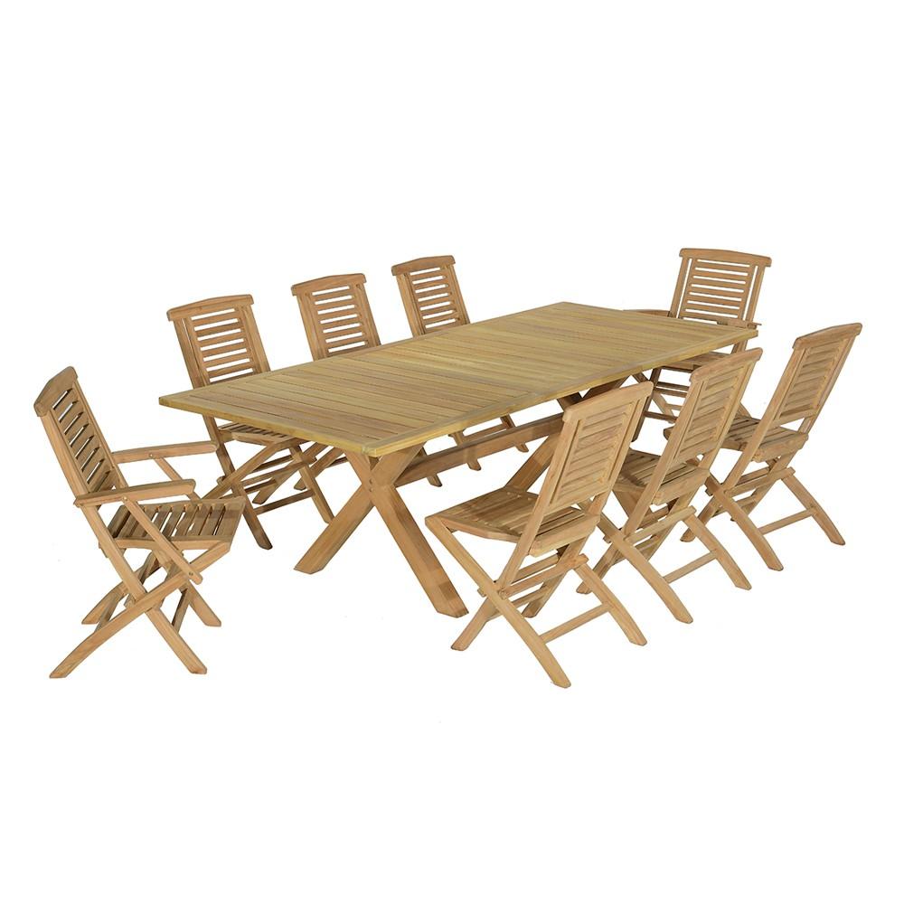 Salon de jardin 6 chaises avec 2 fauteuils en teck massif