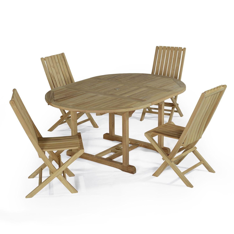 Salon de jardin 4 chaises en teck massif
