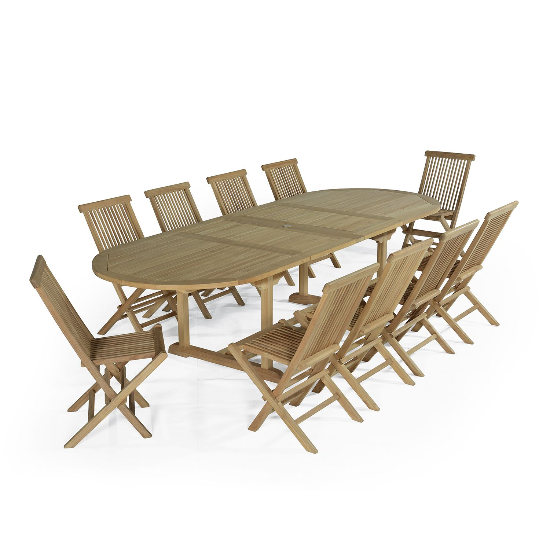 Salon de jardin 10 chaises en teck massif