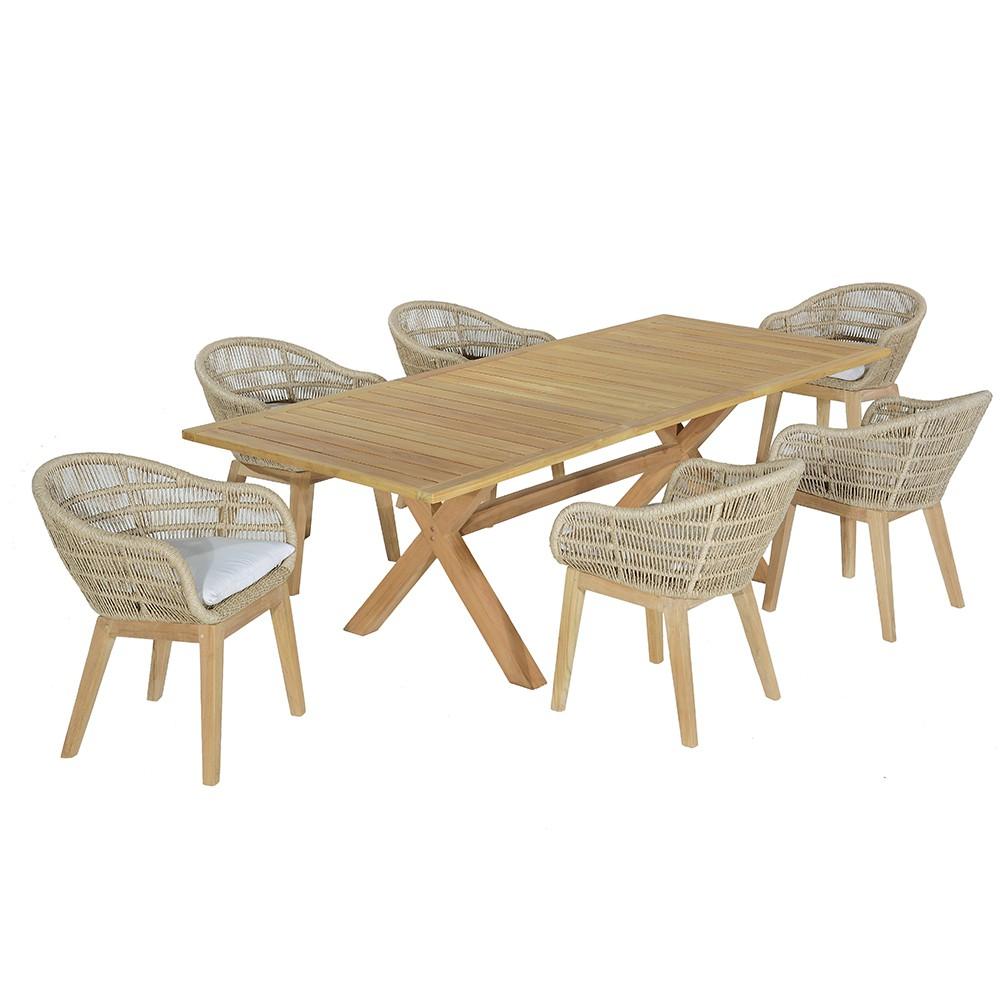 Salon de jardin 6 fauteuils en teck massif