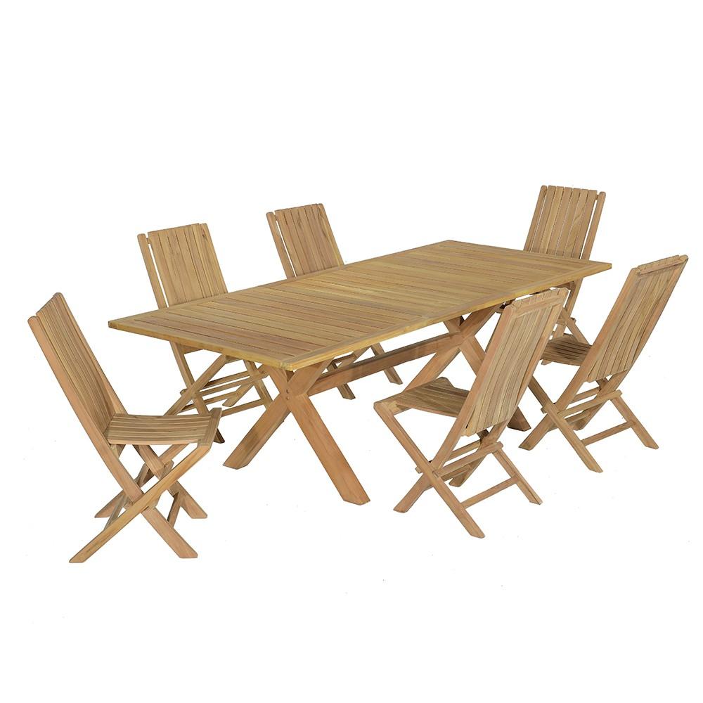 Salon de jardin 6 chaises en teck massif