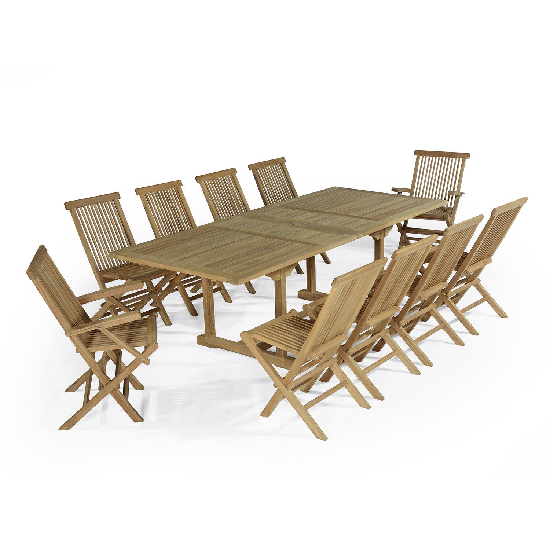 Salon de jardin 8 chaises avec 2 fauteuils en teck massif