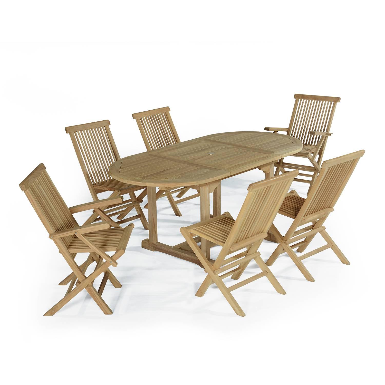 Salon de jardin 4 chaises avec 2 fauteuils en teck massif