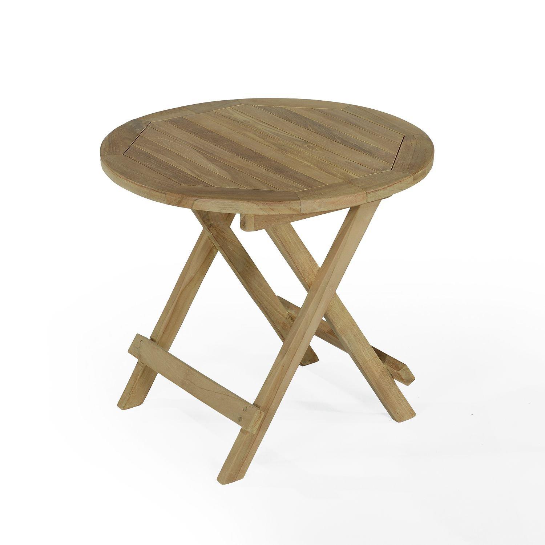 Table basse pliante de jardin en teck massif D 50 cm
