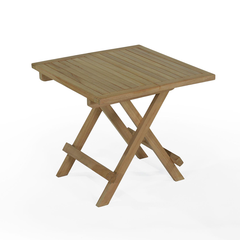 Table basse pliante de jardin en teck massif L50 cm