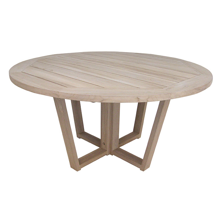 Table ronde en teck massif recyclé 150 cm