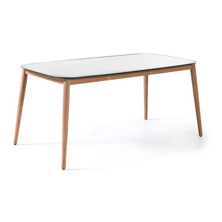 Table de jardin en teck massif et duranite blanc L213