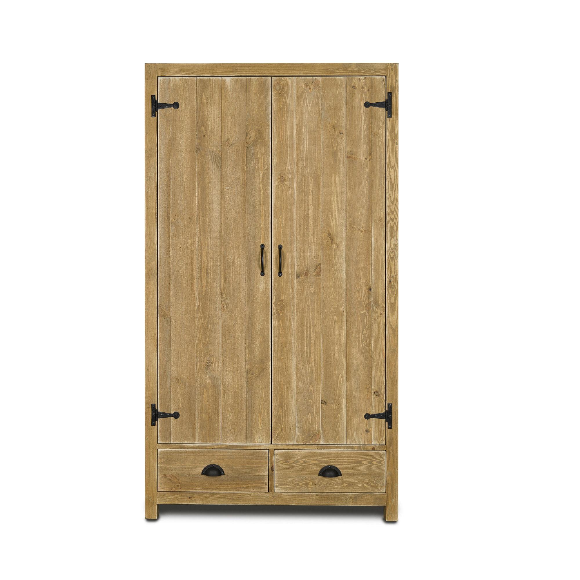 Armoire 2 portes 2 tiroirs pin massif bois vieilli (photo)