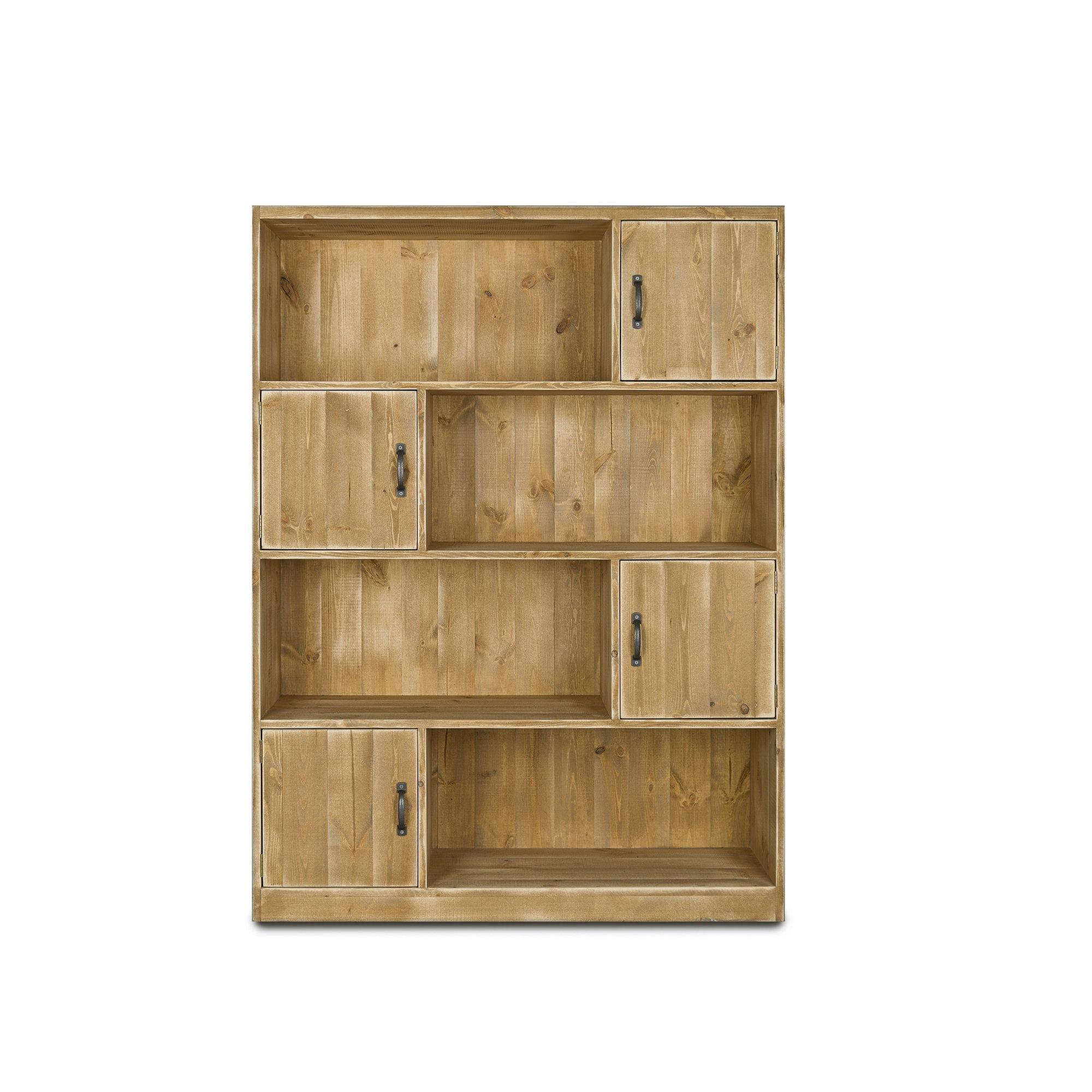 Bibliothèque 4 portes pin massif bois vieilli