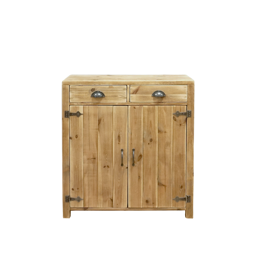 Buffet 2 portes 2 tiroirs pin massif bois vieilli