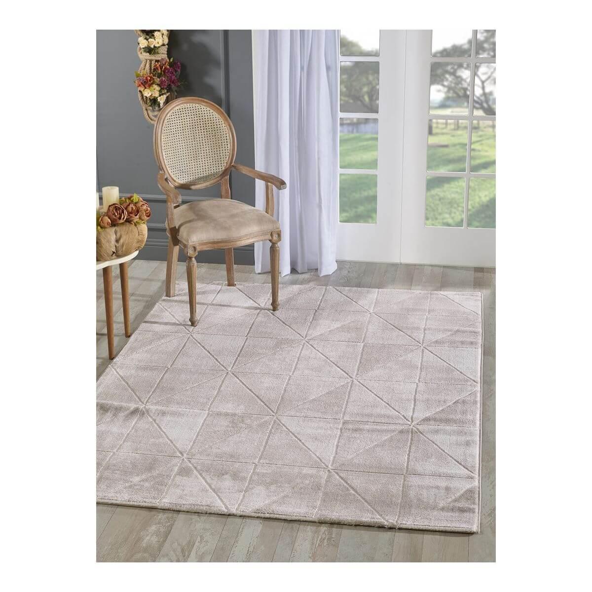 Tapis géométrique scandinave en polyester vison 80x150