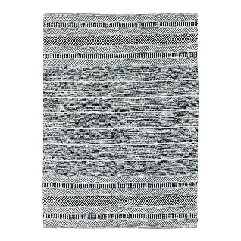 Tapis 100% coton blanc-noir 120x170