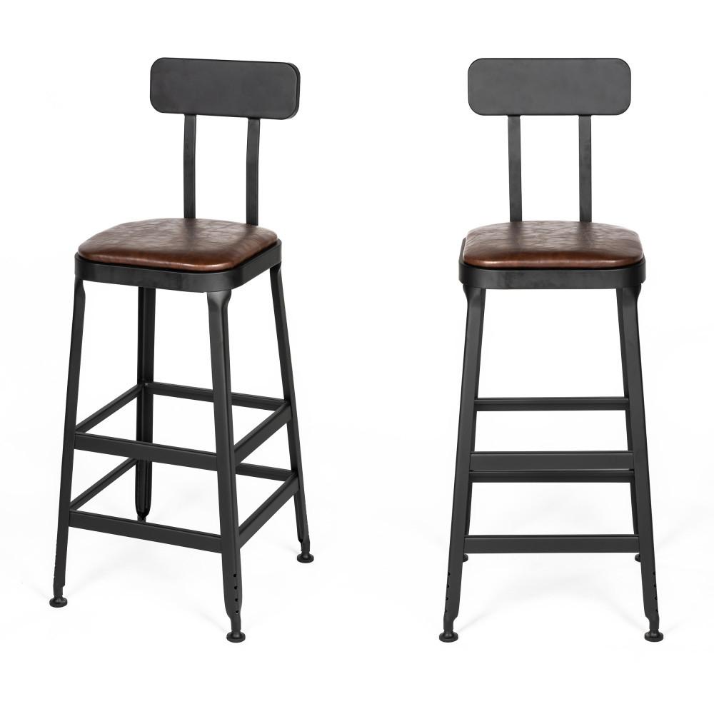 2 chaises de bar métal et simili 75cm marron