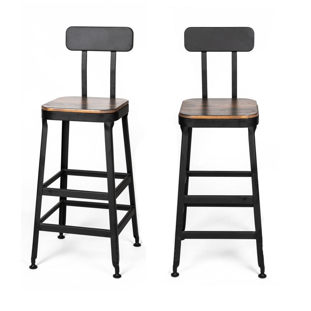 2 chaises de bar métal noir et bois foncé 75cm