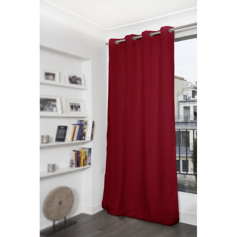 Rideau thermique occultant rouge 140x350