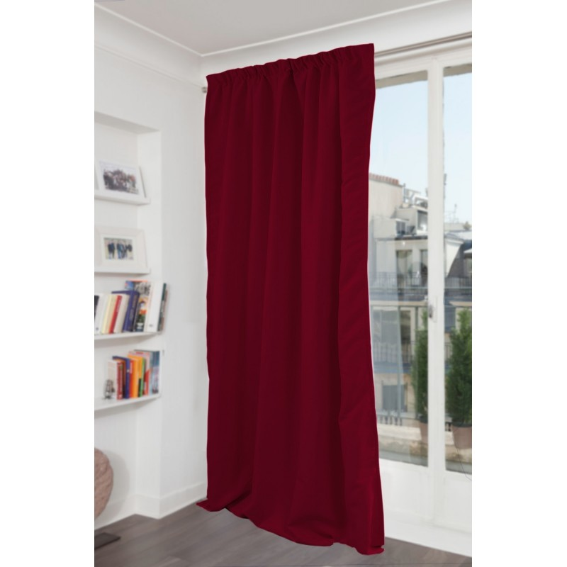 Rideau phonique thermique occultant rouge 140x300