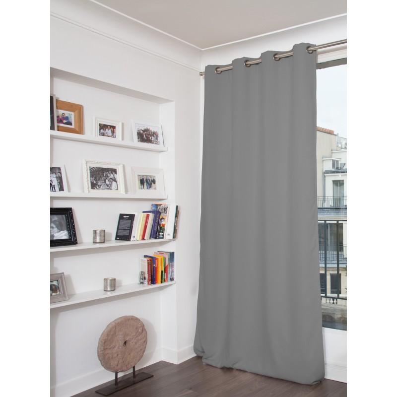 Rideau phonique thermique occultant gris 140x260