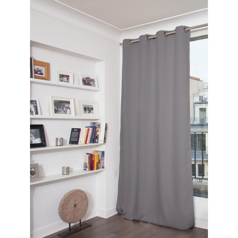 Rideau thermique occultant gris 140x260