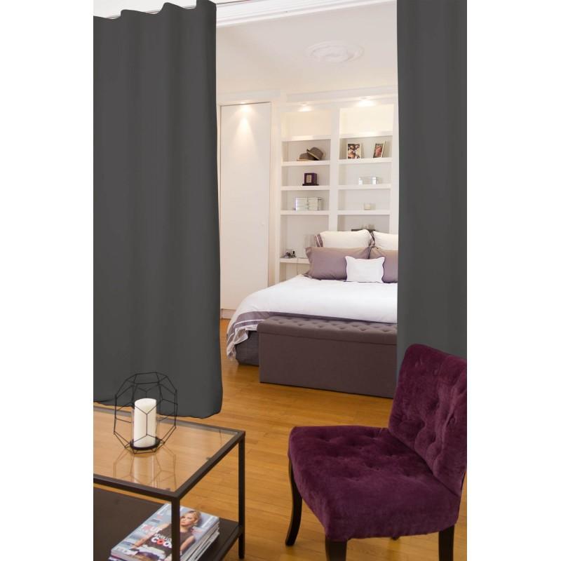 Rideau séparateur de pièce phonique thermique occultant gris 140x250