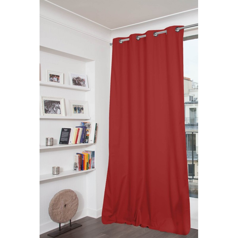 Rideau occultant total rouge 135 x 250