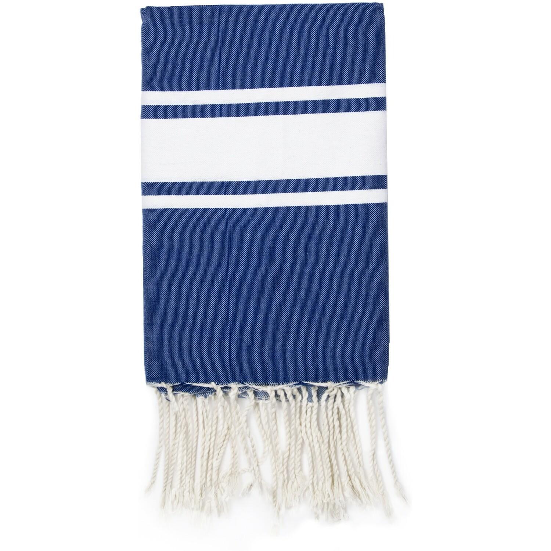 Fouta en coton bande blanche 100x200 Bleu grec