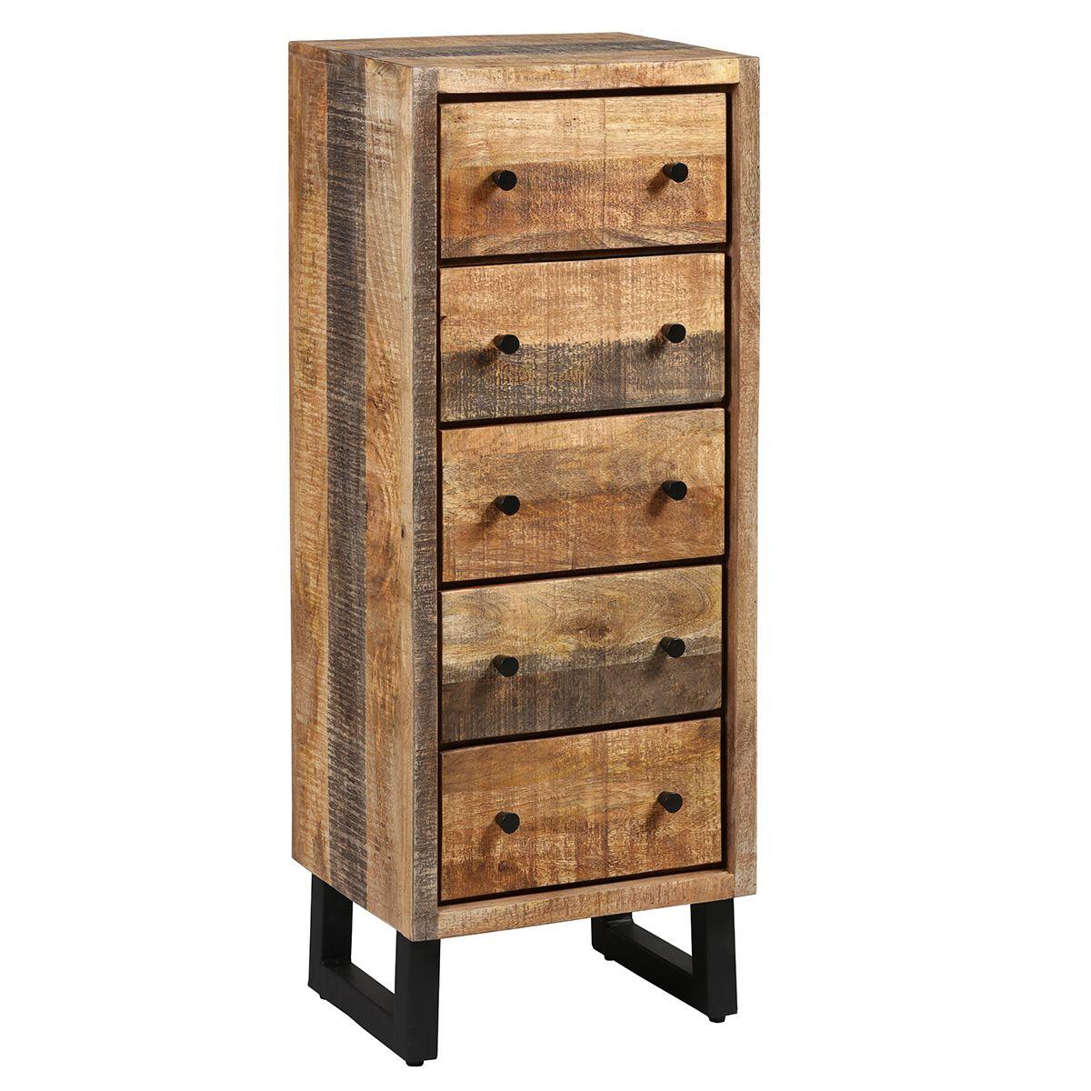 Chiffonnier 5 tiroirs acier et bois massif