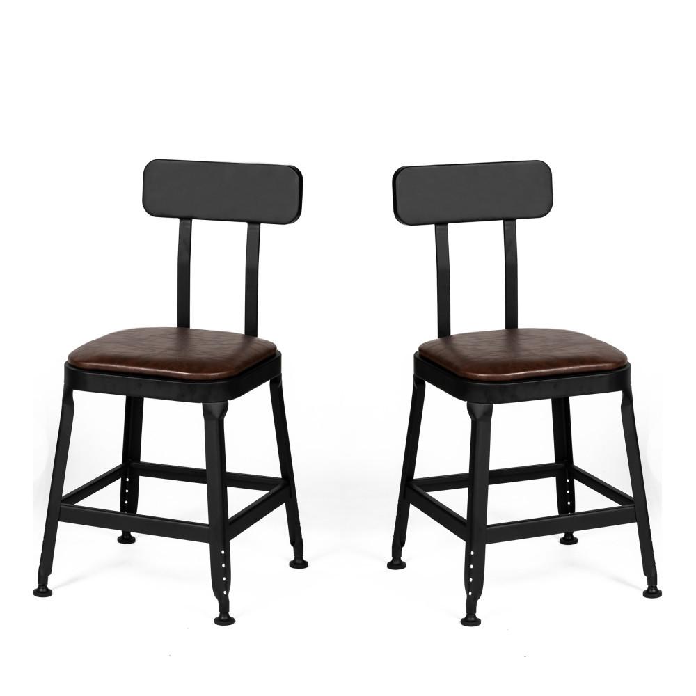 2 chaises métal et simili marron