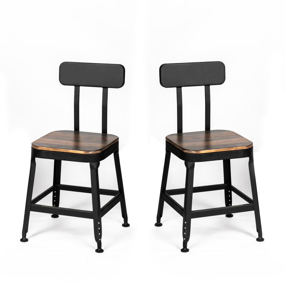 2 chaises métal et bois foncé et noir