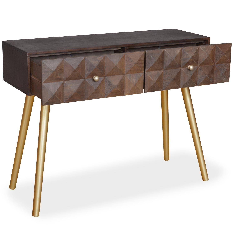 Console 2 tiroirs en bois et pieds en métal or