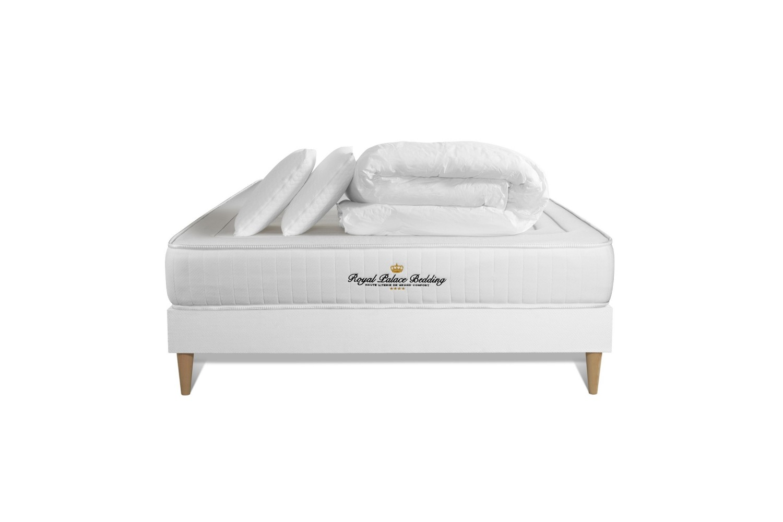 Pack prêt à dormir 140 x 200 cm sommier blanc
