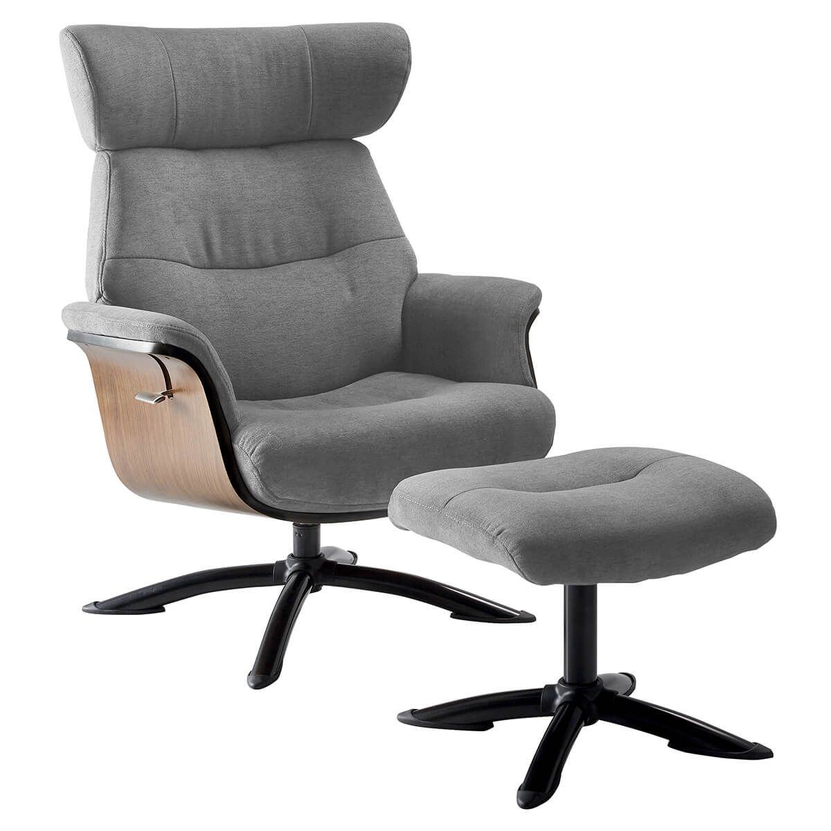 Fauteuil Inclinable + Repose-Pieds Gris