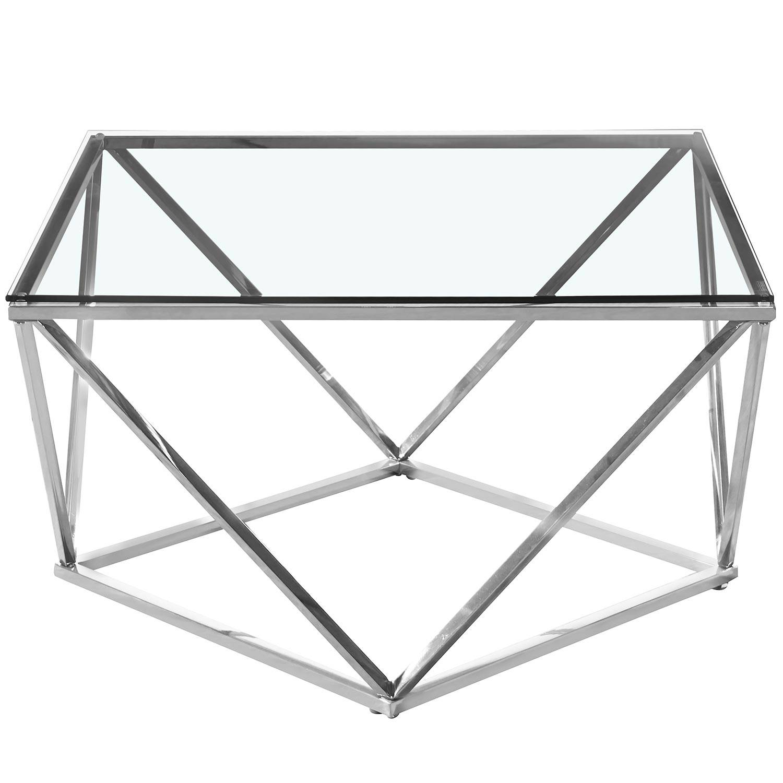 Table basse  en verre transparent et pieds argent