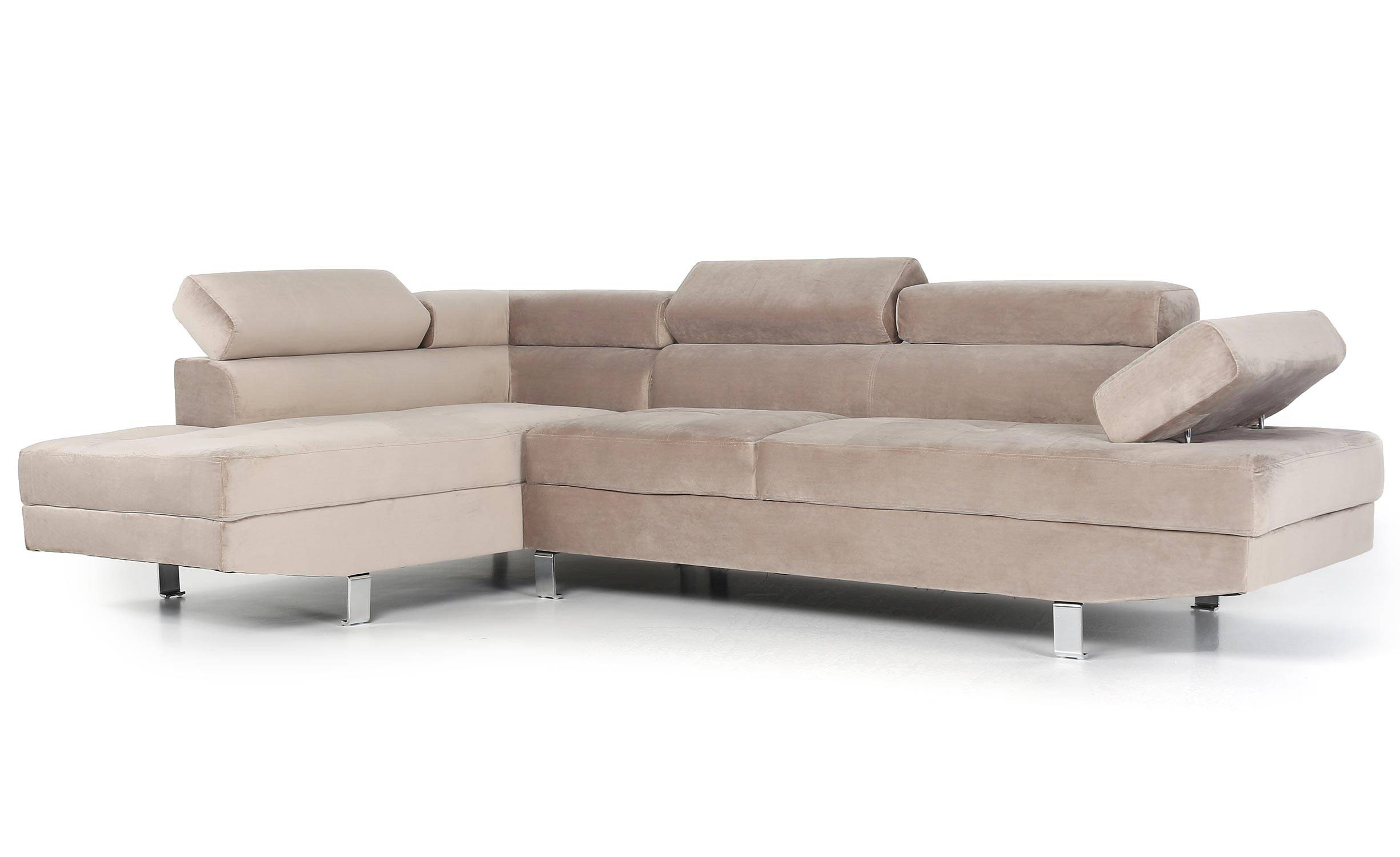 Canapé d'angle avec têtières relevables  velours taupe