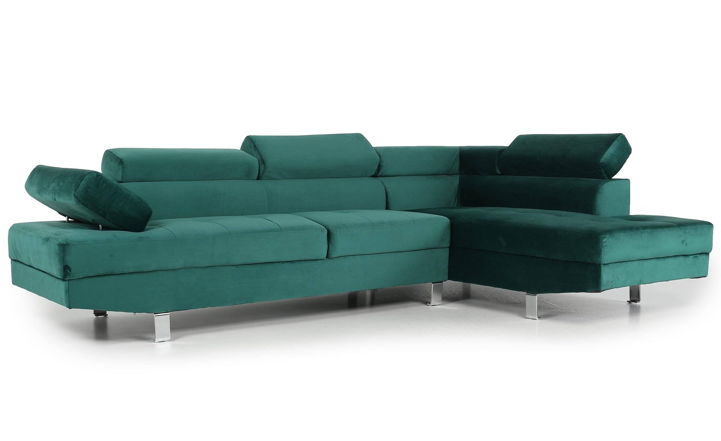 Canapé d'angle avec têtières relevables velours vert