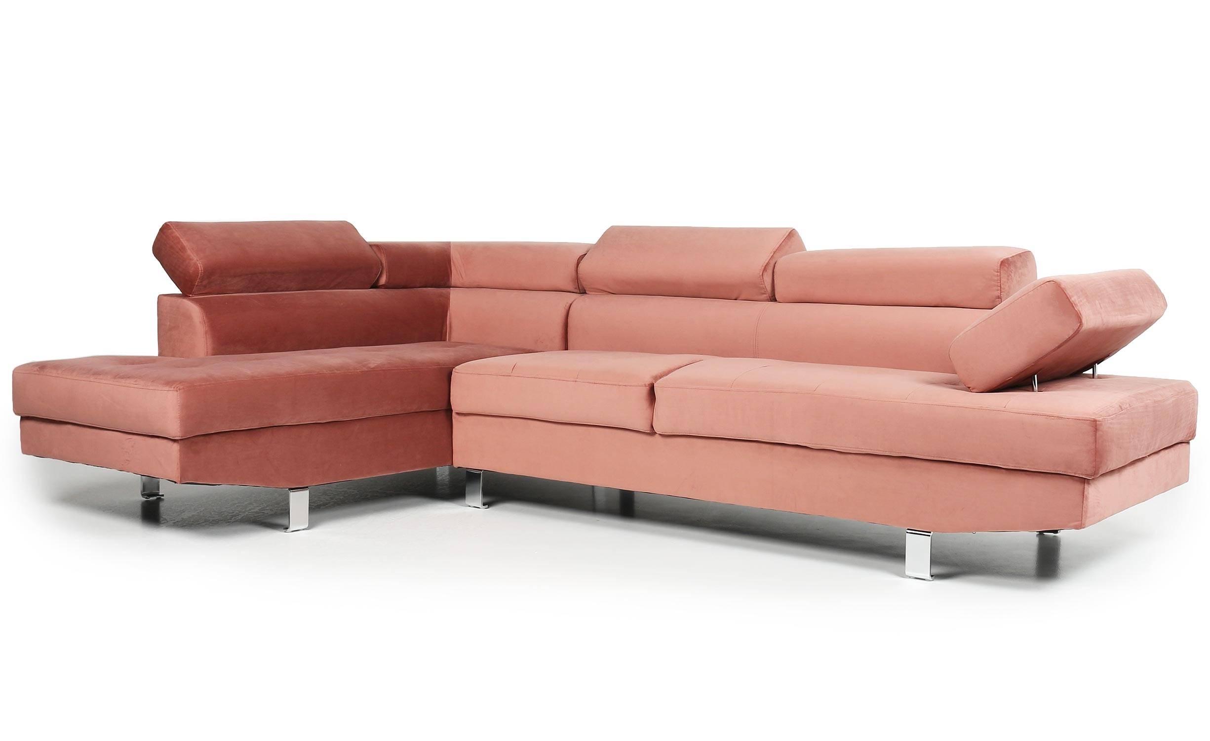 Canapé d'angle avec têtières relevables velours rose
