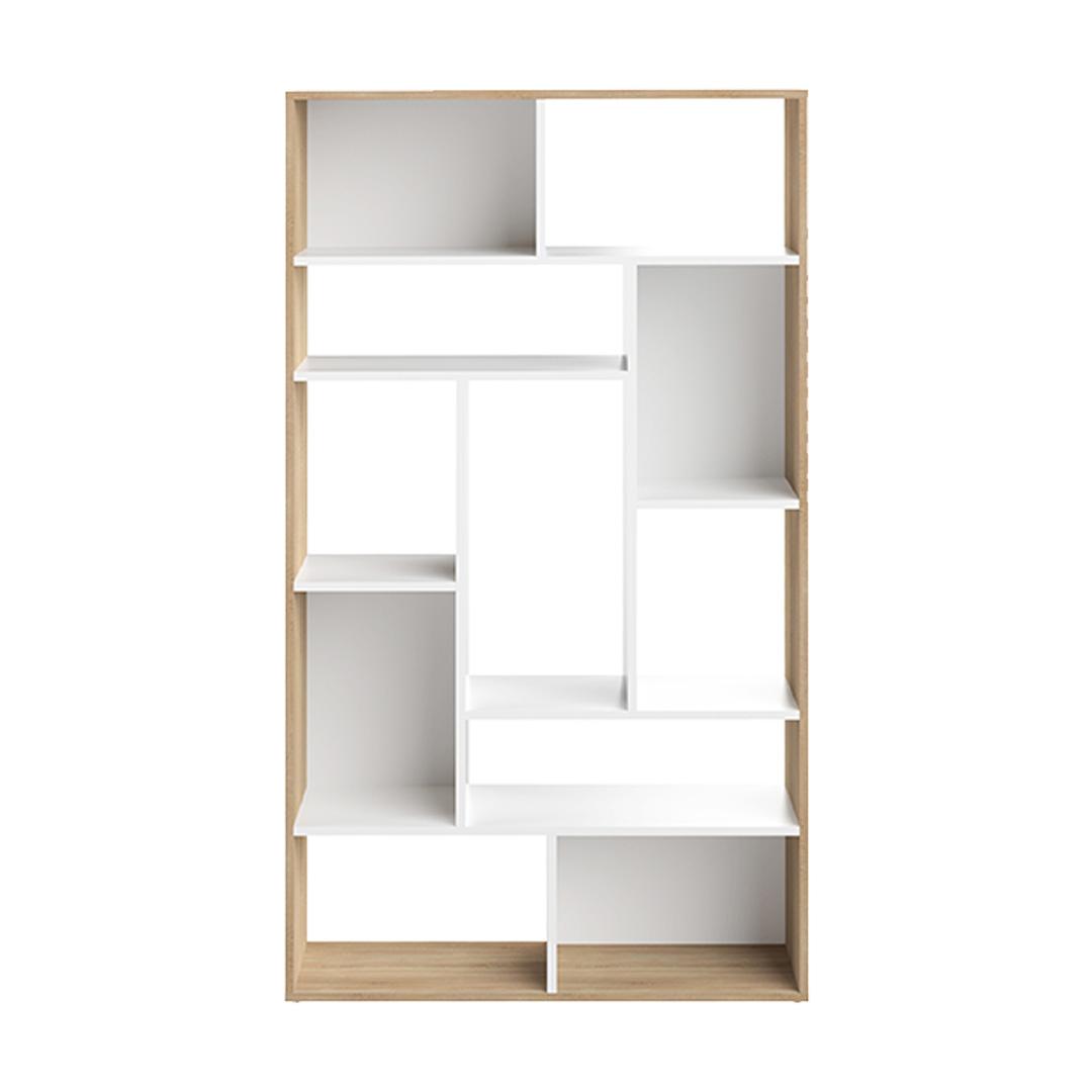 Bibliothèque  effet bois Blanc et chêne naturel