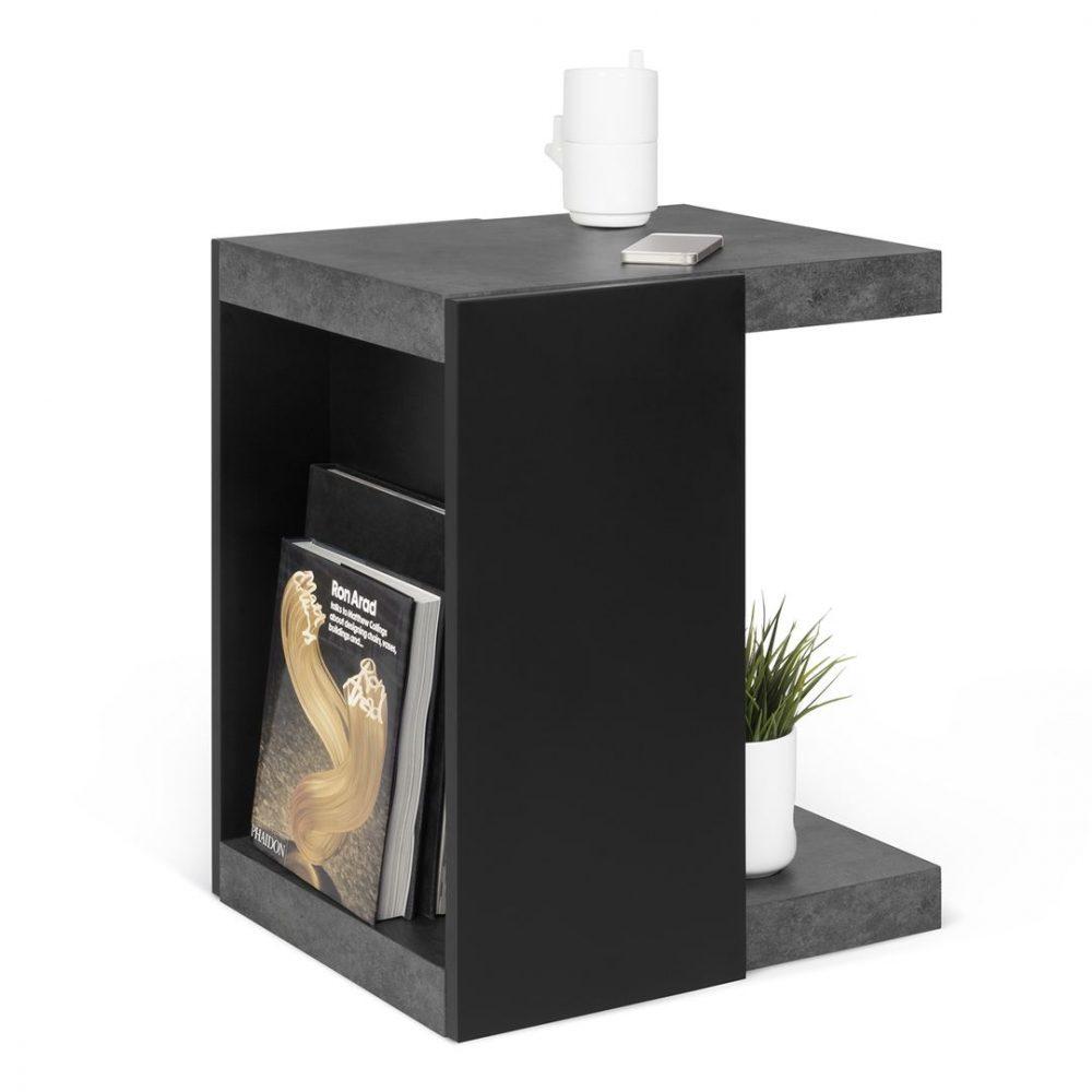 Table Basse effet bois Béton et noir