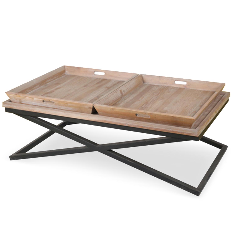 Table basse avec plateaux  bois patiné et métal noir