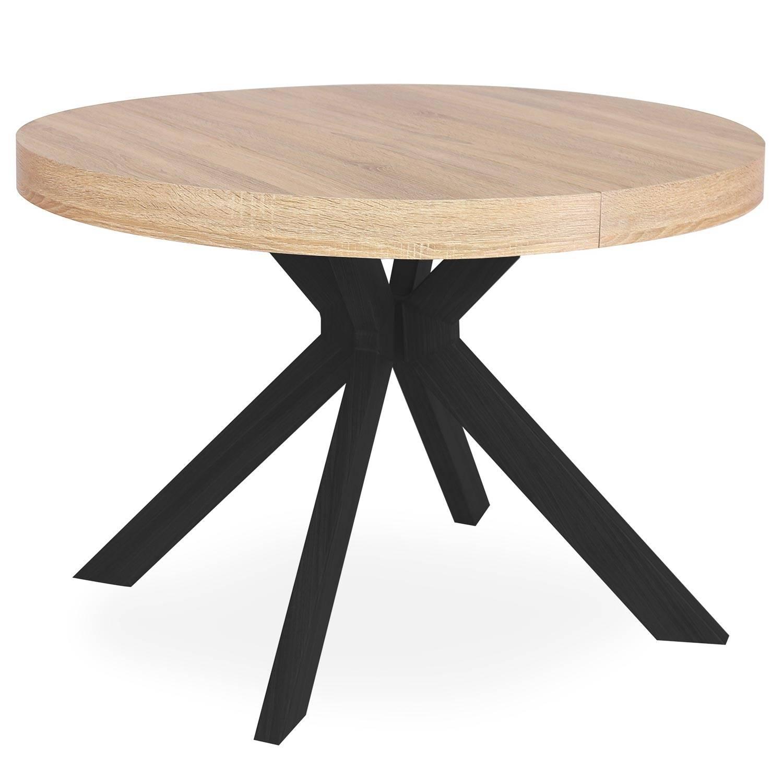 Table ronde extensible noir et chêne clair