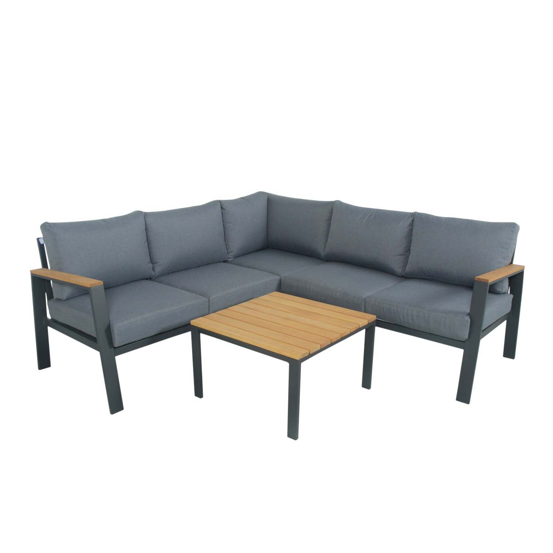 Salon de jardin design 5 places en bois et aluminium gris